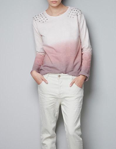Zara ombre dip dye stud shoulder jumper top size m medium
