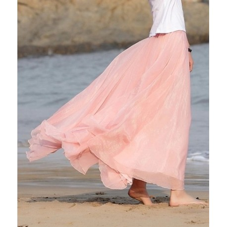 Pink High Quality Chiffon skirt Maxi Skirt Long Skirt lml4001 - lol-malls - Trustful Online Shopping for Women Dresses