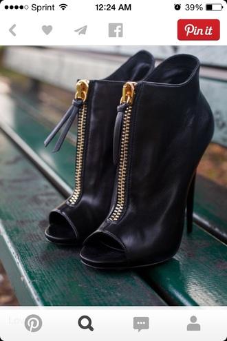 black heels zipup shoes ankleboots shoes
