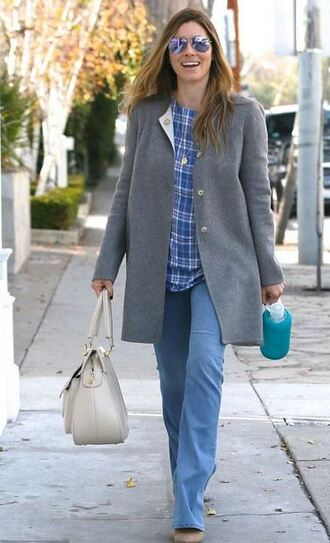 coat blouse plaid jeans jessica biel fall outfits purse