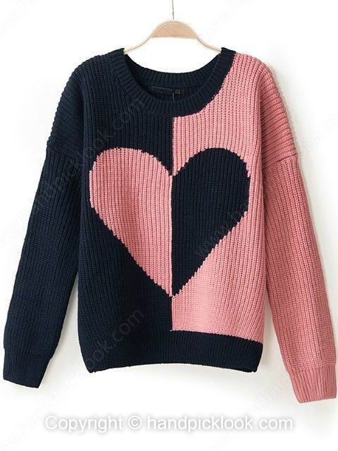 Pink contrast navy round neck long sleeve heart pattern sweater
