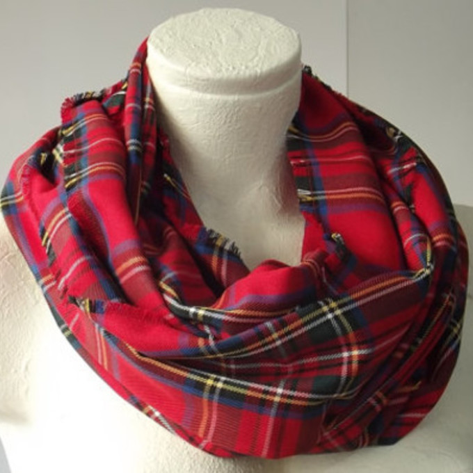 tartan red tartan loop plaid scarf scottish tartan scarf red