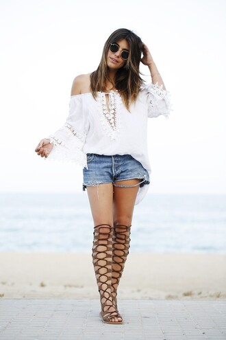 dulceida blogger blouse shorts shoes sunglasses beach gladiators knee high gladiators levi's