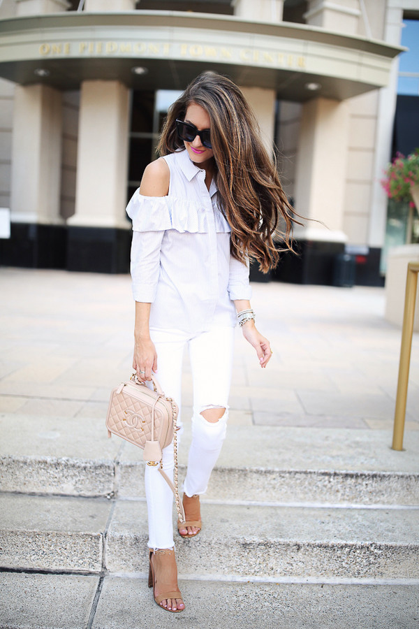 Topshop stripe ruffle cold shoulder shirt nordstrom for How to get foundation out of a white shirt