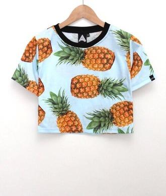 shirt pineapple print crop tops