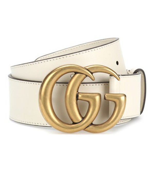 Gucci Embellished leather belt in white