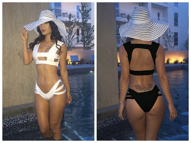 swimwear bikini summer sexy black white