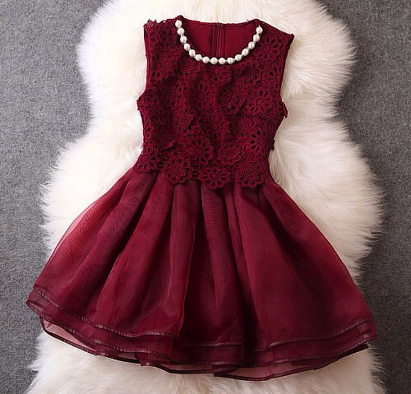 pearls floral flared dress maroon/burgundy