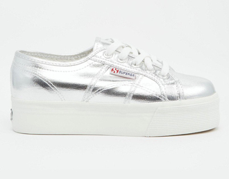 shoes superga metallic shoes platform sneakers grunge shoes silver sneakers