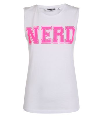 Teens white neon pink nerd tank top