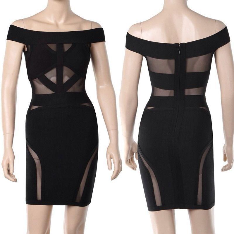Off Shoulder Mesh Panels Black Bandage Dress ( Medium)