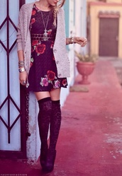 dress,pink and black,floral,underwear,jewels,shoes,sweater,knee high socks,cardigan,heels,spring,summer,summer dress,high socks,cute,ensemble,cardi,floral dress,lace,fall outfits,jacket,black,hippie,black dress,roses,sweatshirt,tights,flowers,socks,high heels,navy dress,thigh highs