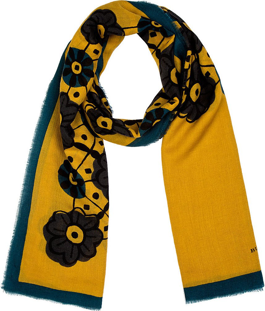 Burberry Prorsum - Yellow Fine Wool & Silk Floral Scarf