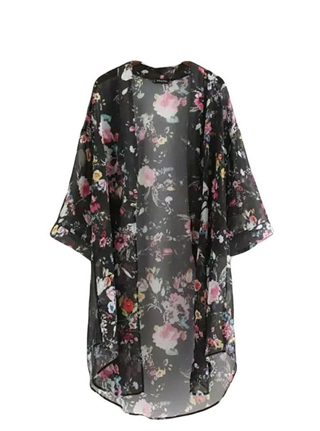 Women's 3/4 Sleeve Floral High Low Chiffon Kimono Cardigan Blouse ...