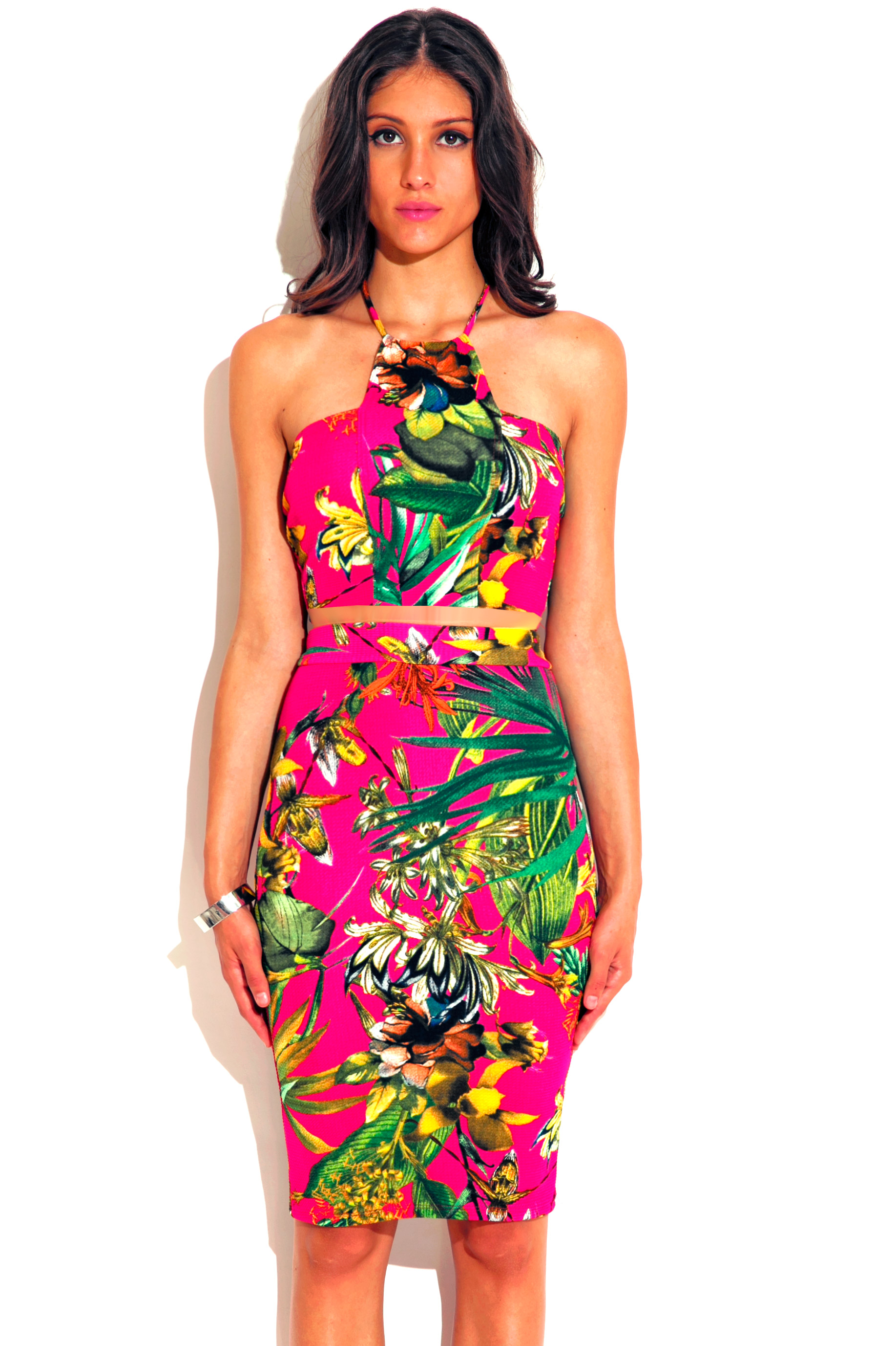 Hot pink tropical floral palm print high neck fitted bodycon two piece set dress