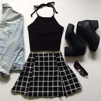 halter top black top black boots denim jacket skater skirt black skirt crop tops black crop top skirt checkered grid black plaid skirt white top black and white skirt shirt shoes halter neck grunge halter crop top clothes checkered skirt jacket tumblr outfit