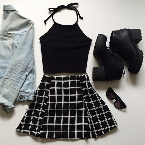 0888835480 halter top black top black boots denim jacket skater skirt black skirt crop  tops black crop