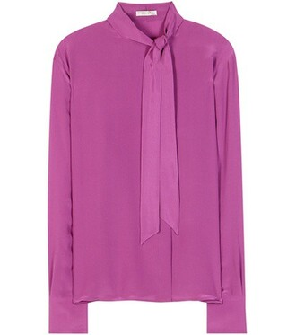blouse bow silk purple top