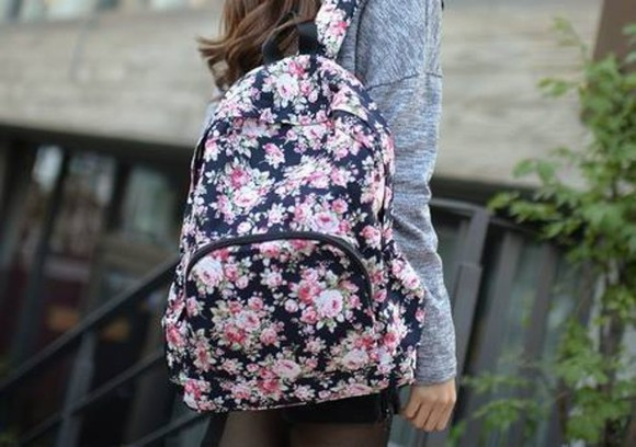bag backpack floral nice pretty little liars travel back to school school bag school.