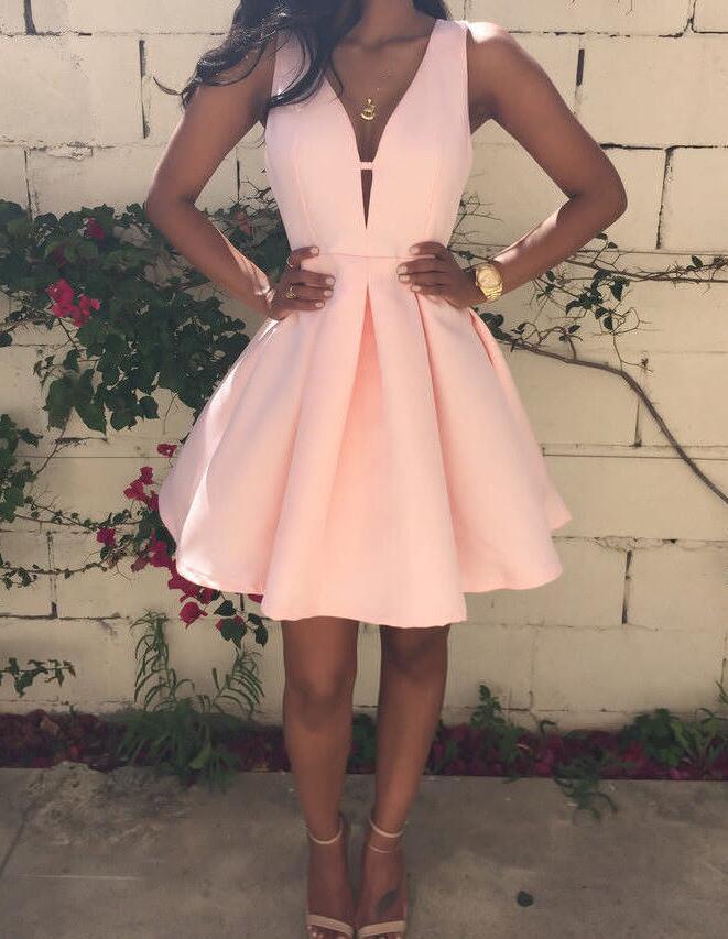 Deep V-neckline Short Satin Homecoming Dresses, Pink Prom Dresses, Short Party Dresses on Storenvy