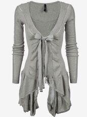 blouse,grey,sweater,cardigan,cute,bow,shirt,grey sweater,cute cardigan,bows,fall sweater,girly,spring,ribbed asymmetric hem cotton cardigan,grey cardigan,clothes