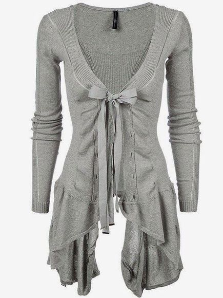 grey cute blouse sweater cardigan bow