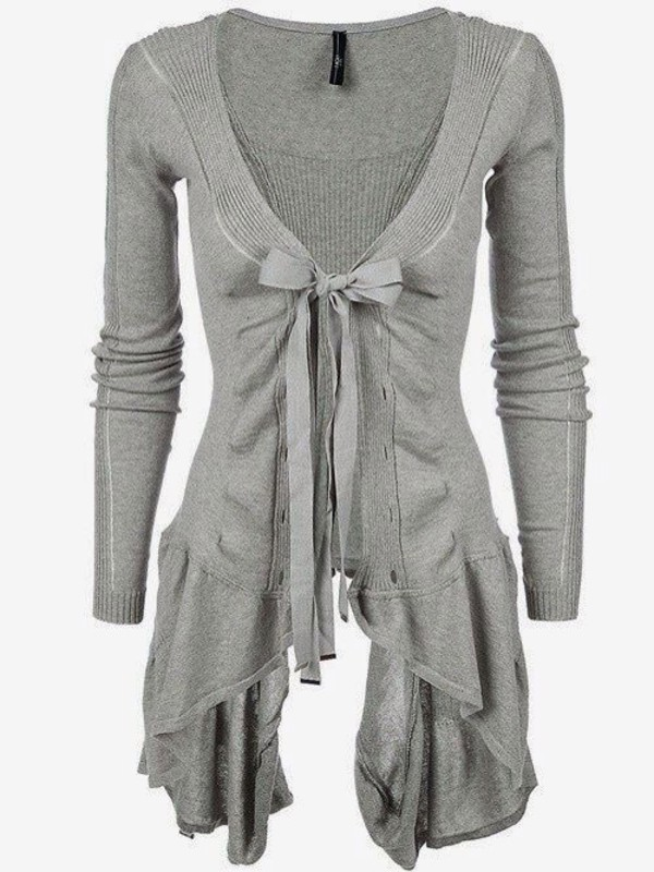 blouse grey sweater cardigan cute bow shirt