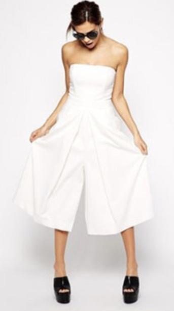 jumpsuit white skorts wide leg bardot dress