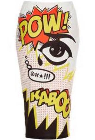 skirt topshop kaboom pow pencil skirt retro pop art