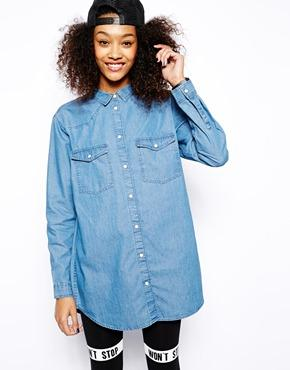 Monki | Monki Oversize Denim Shirt at ASOS