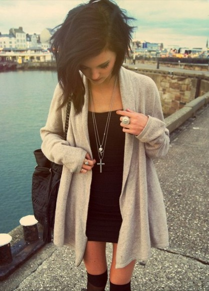dress sweater long cardigan little black dress high knee socks