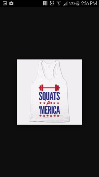 shirt workout merica squats tank top red white blue weights plates lift stars 4th july freedom party
