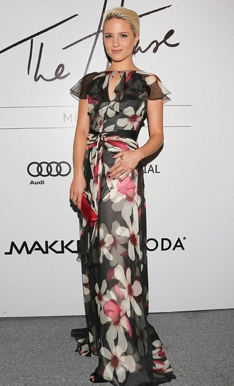 dress maxi dress floral sheer dianna agron floral maxi dress
