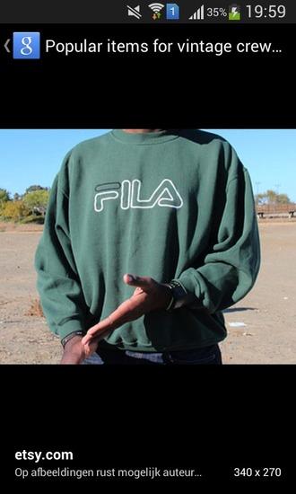 sweater green fila crewneck vintage