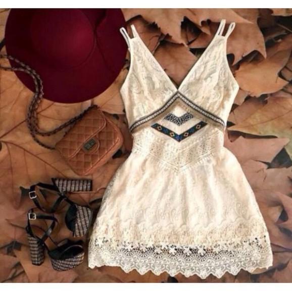 Dress White Dress Cute Dress Summer Dress Fashion Tumblr Outfit Romantic Summer Dress