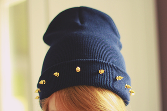 hat soruthless beanie studded spiked navy color handmade