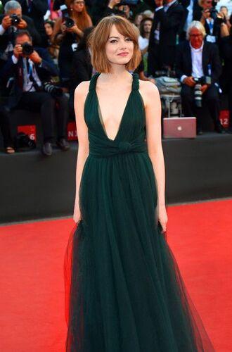 emma stone forest green dress maxi dress green dress green tulle dress