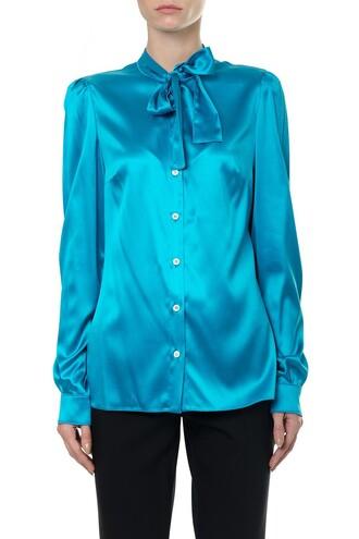 blouse bow silk satin top