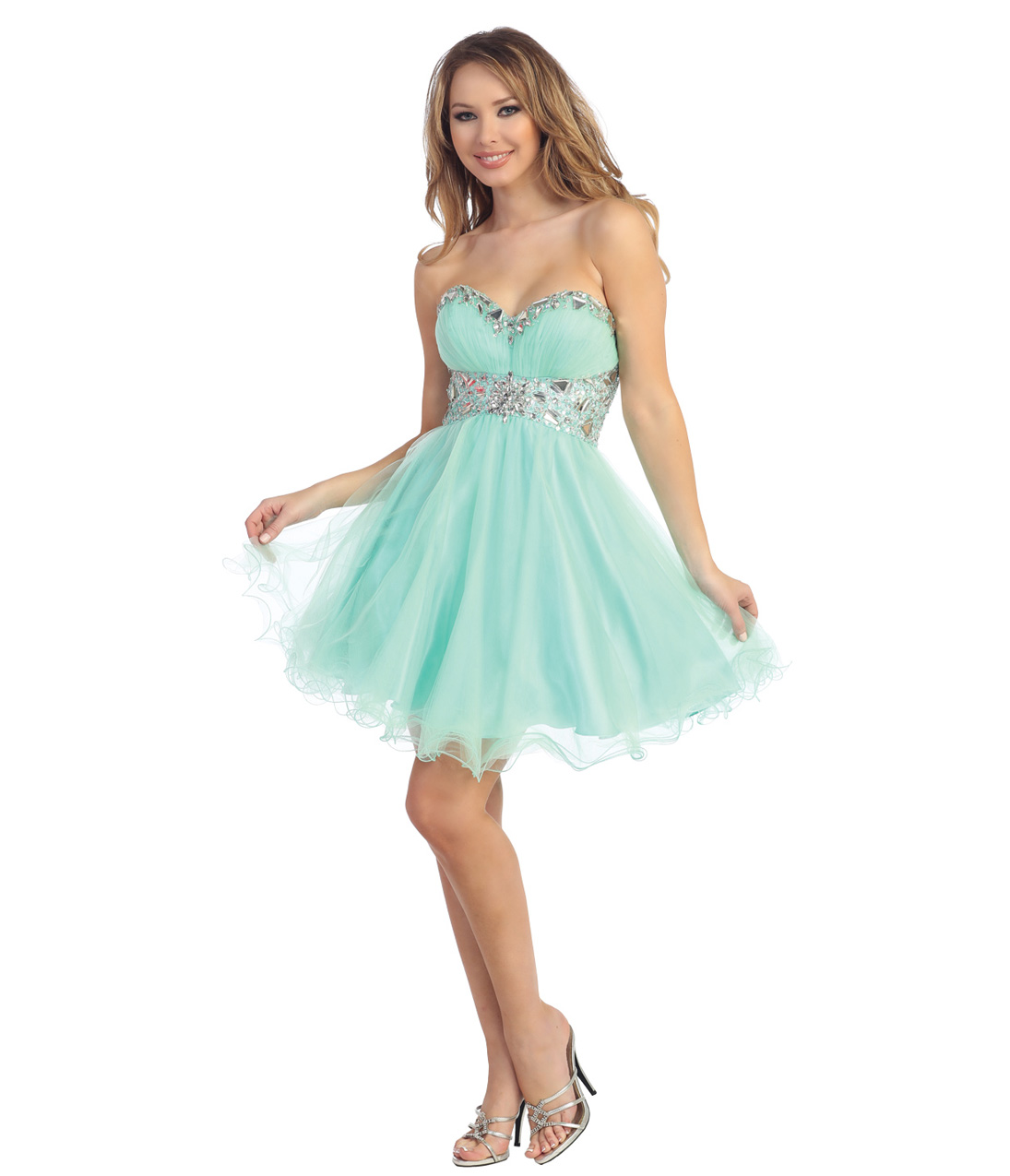 2014 Prom Dresses - Mint Tulle & Beaded Strapless Sweetheart Short Dress - Unique Vintage - Prom dresses, retro dresses, retro swimsuits.
