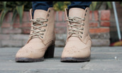 shoes,boots,block heels,creme,pretty,ankle boots