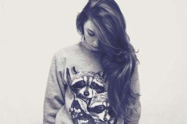 sweater animal  sweater raccoon jumper random girl shirt