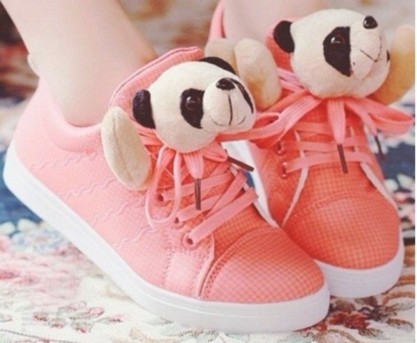 shoes cute lovely panda kawaii salmon pastel animal