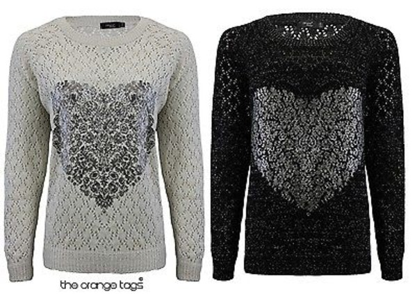 sweater heart print crochet knitwear jumper cardigan pullover black grey women valentines day