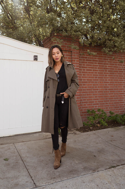 coat tumblr khaki green coat trench coat denim jeans black jeans ripped jeans top black top boots brown boots ankle boots