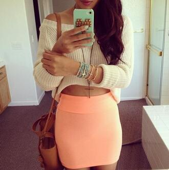 skirt coral cute hipster lovely girly girl swag baby sweater bag jewels knit cream white off the shoulder bodycon peach bracelets necklace mint tank top hair accessory phone cover cross peach skirt blouse comfy slouchy orange shirt pink cream jumper