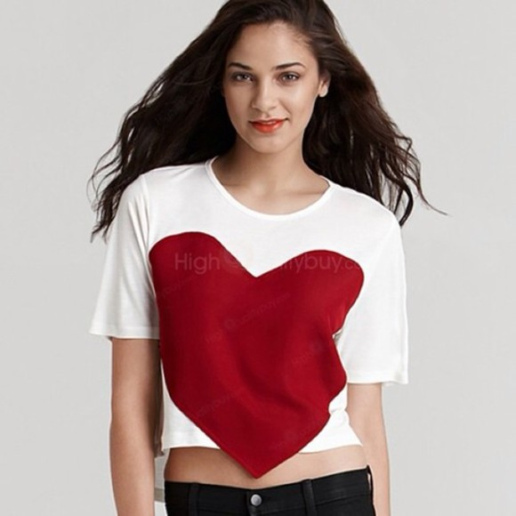 heart shirt white red crop tops