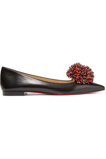 Christian Louboutin - Konstantina Pompom-embellished Leather Point-toe Flats - Black