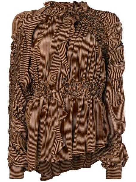 PREEN BY THORNTON BREGAZZI blouse ruffle women silk brown top