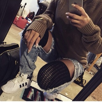 sneakers adidas ripped jeans knitted cardigan knitted sweater adidas shoes jeans