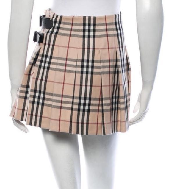 14b45cecfa Burberry Burgundy Nova Check Wool Pleated New 6 S Small Mini Skirt